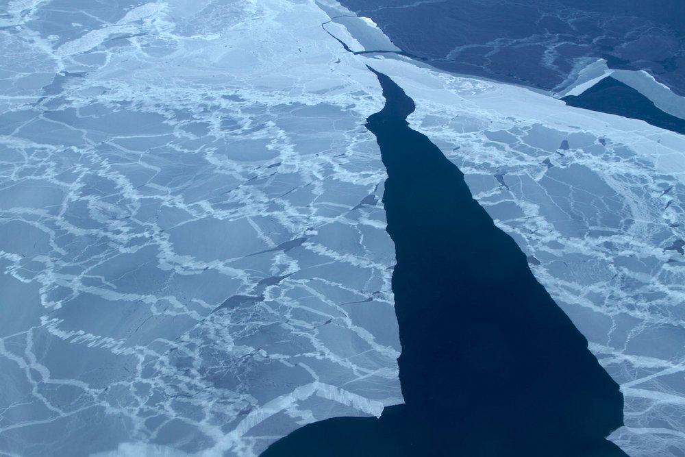 Sea ice breaking up off Greenland's coast