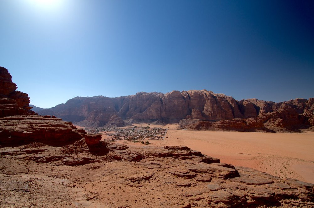 Wadi Rum village with Jebel Rum behind