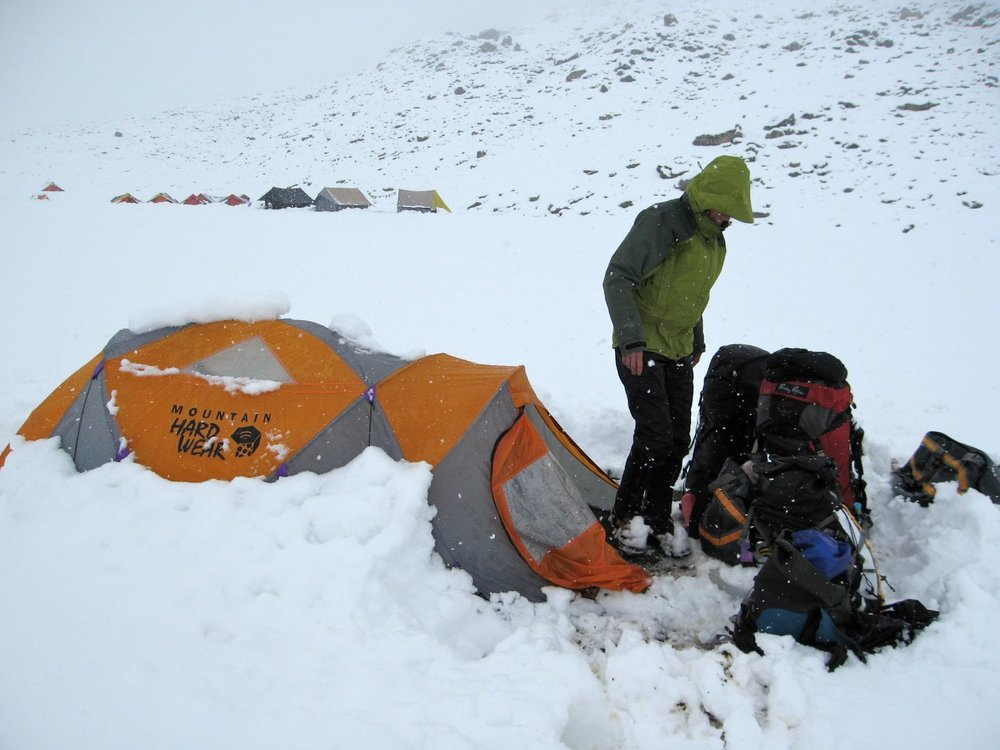 Snow dump in the Miyar Valley - just in time for our hike out!
