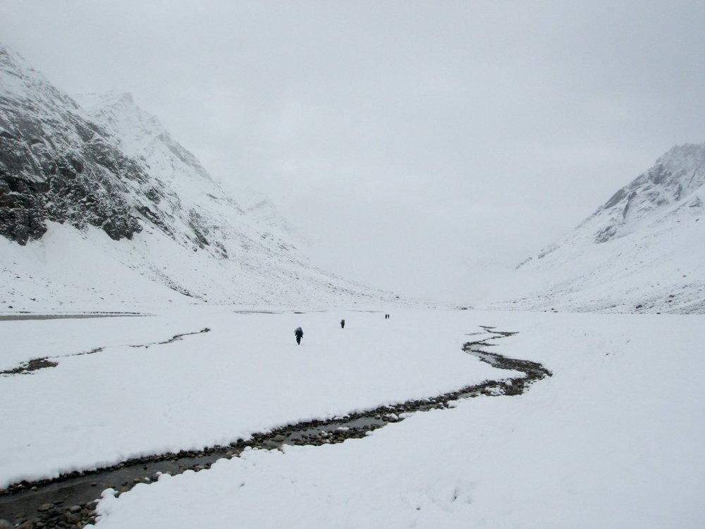Hike down the Miyar with our porters
