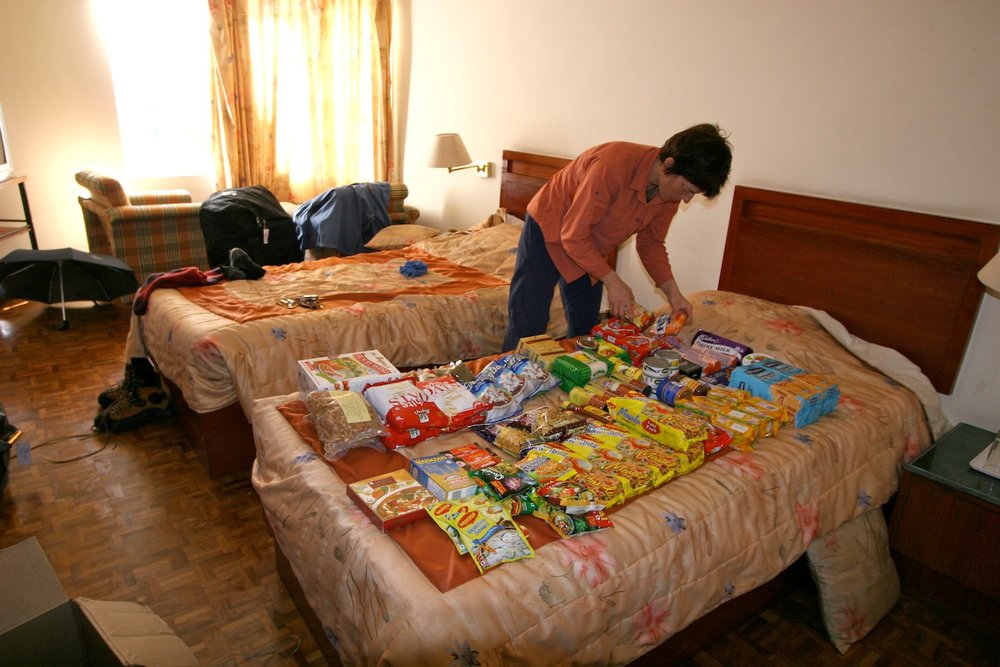 Sorting food for over four weeks out in the mountains