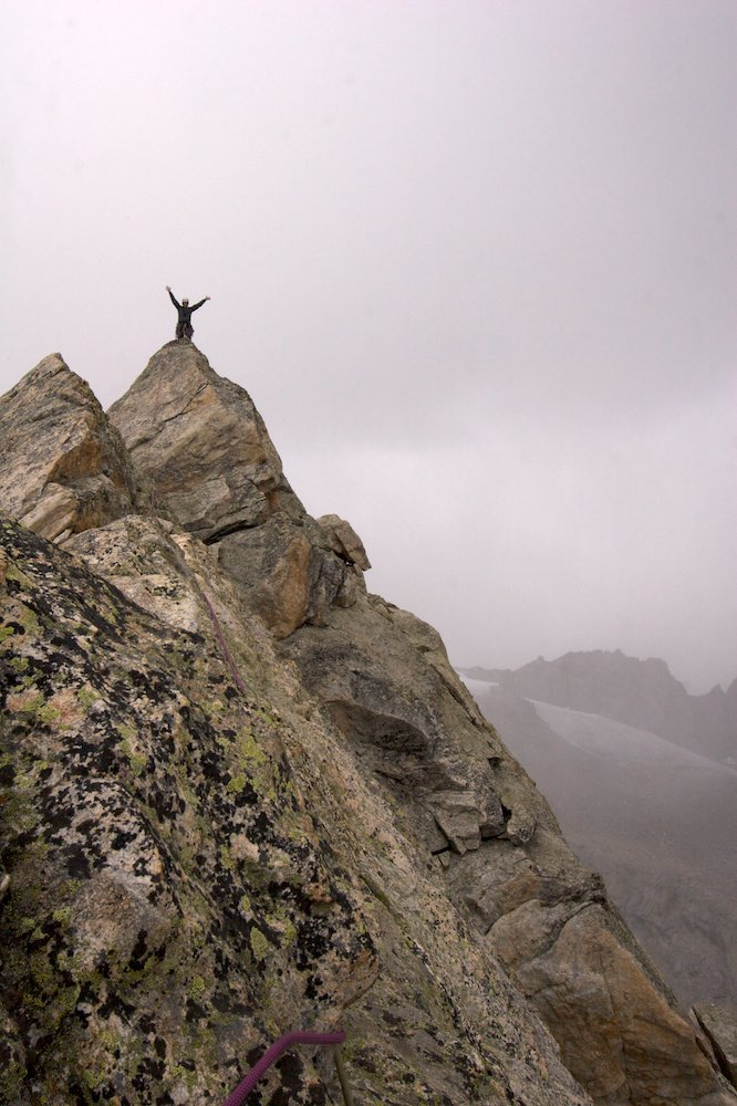 On the summit to make the first ascent of Nazomi Peak