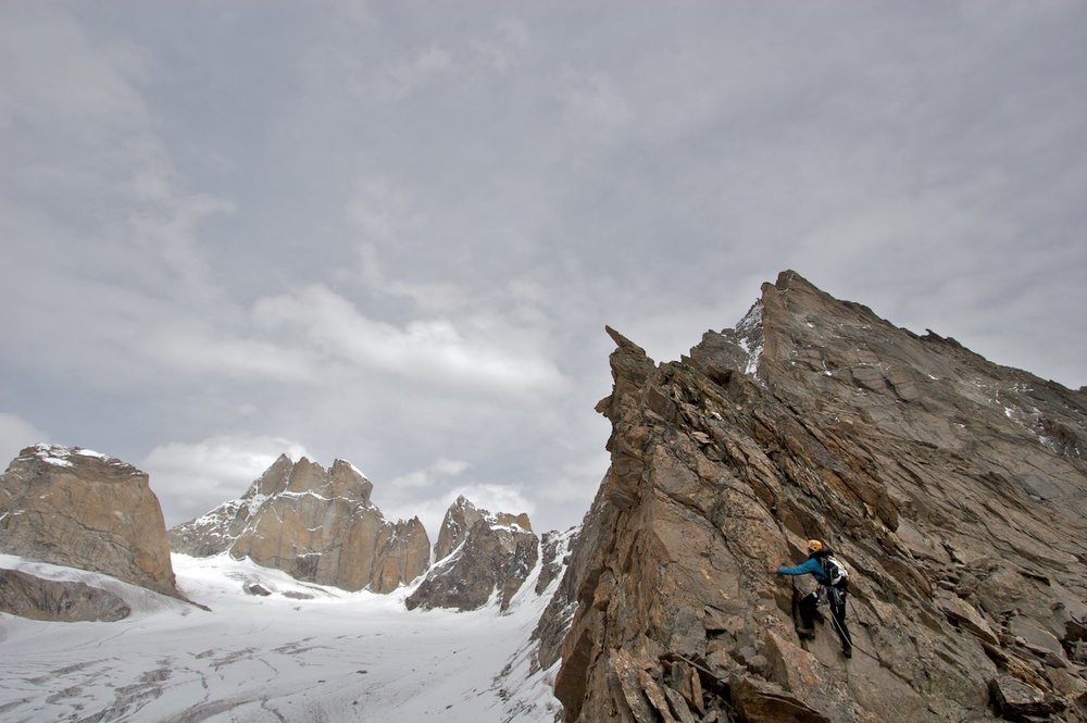 Climbing on a ridge in the lower Tawa with views into the Dali Glacier - Mt Mahindra is behind