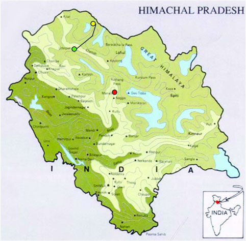 The Himachal Pradesh State showing the locations of -Manali (red dot); Udaipur (green dot);with the route taken on to the Miyar Valley (yellow dot). (Click on map for larger image)
