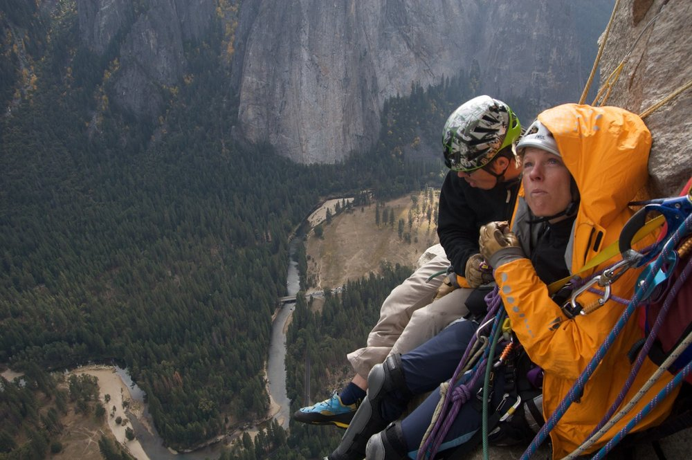 "Instead of being on the portaledge, Karen endured the stomach churning exposure on ""Peanut Ledge"""