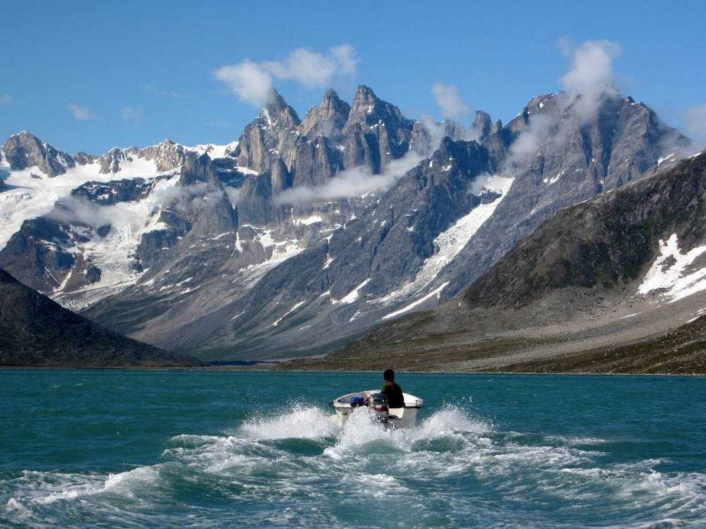 A couple of fisherman took us from Kuummiiut to the head of the Tasiilaq Fjord