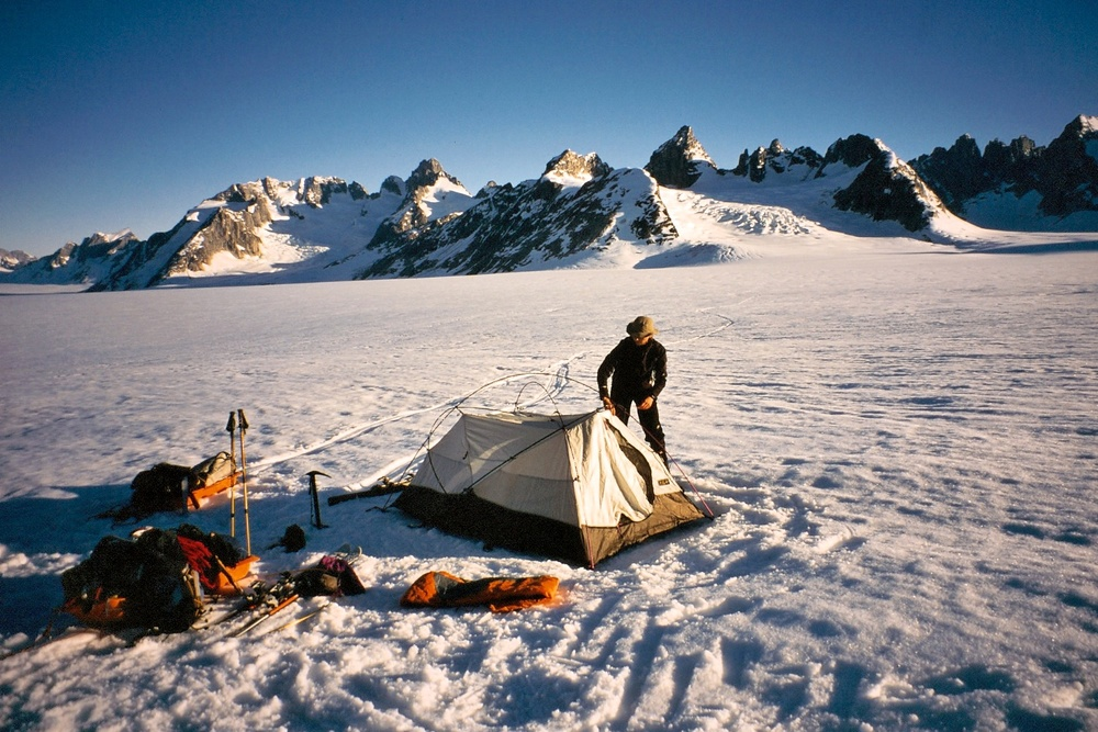 Setting up camp on the glacier en route toward the Col de Phantome