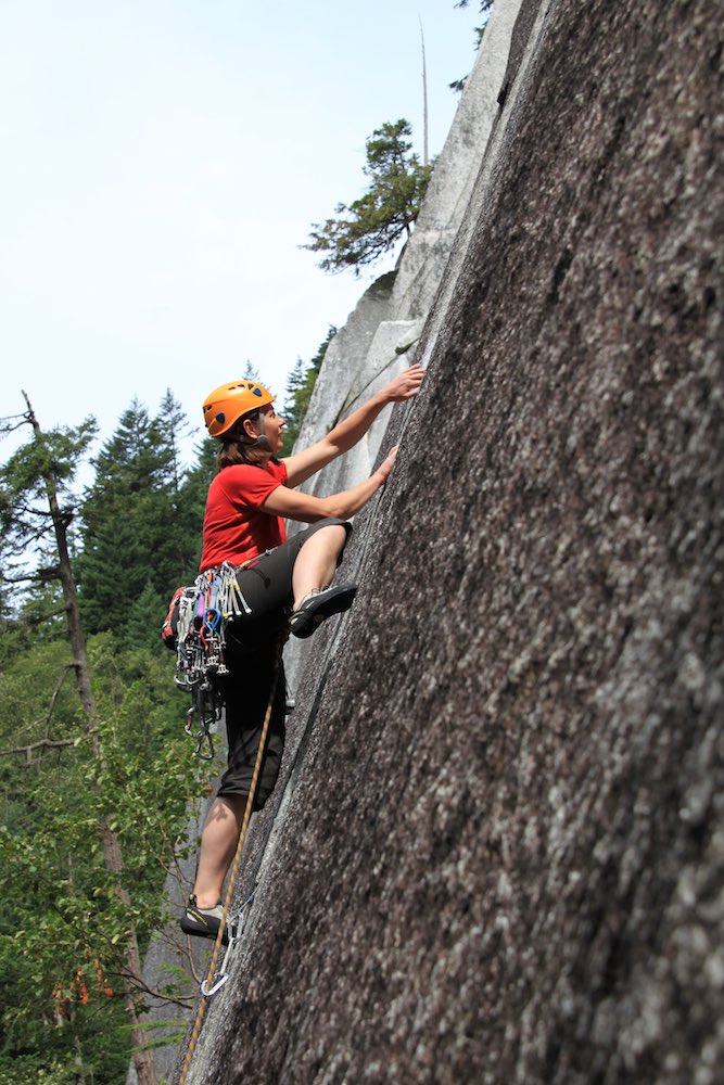 Tash leading the first pitch of 'Exasperator' (5.10c), Squamish