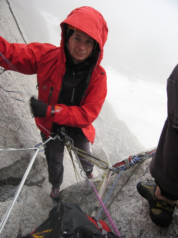 Retreating from 'McTech Arete' (5.10-) in the hail, Bugaboos