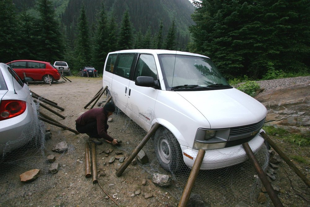 Critter-proofing our vehicle otherwise animals will chew rubber tubes, brake fluid, etc