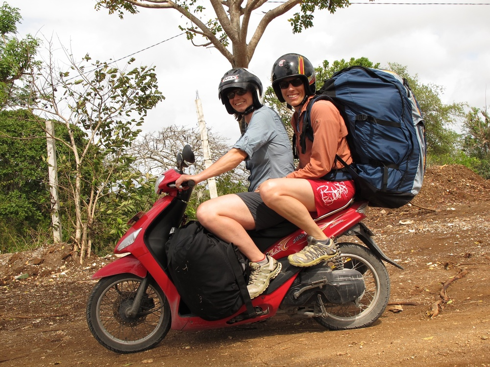 Considering whole families ride one scooter, we figured two paragliders and us was fine