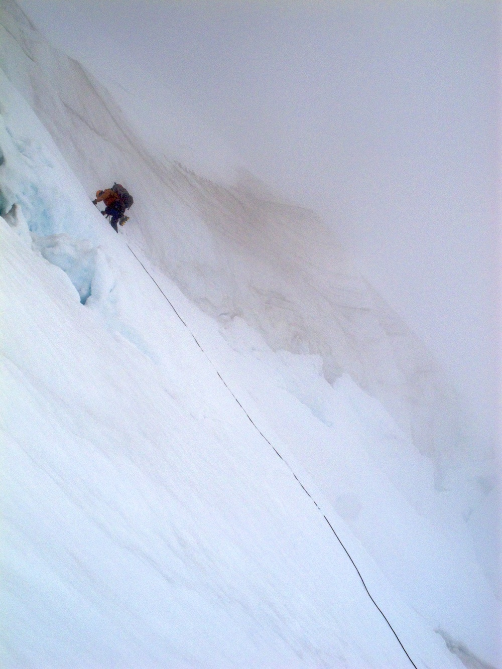 White-out conditions on the traverse