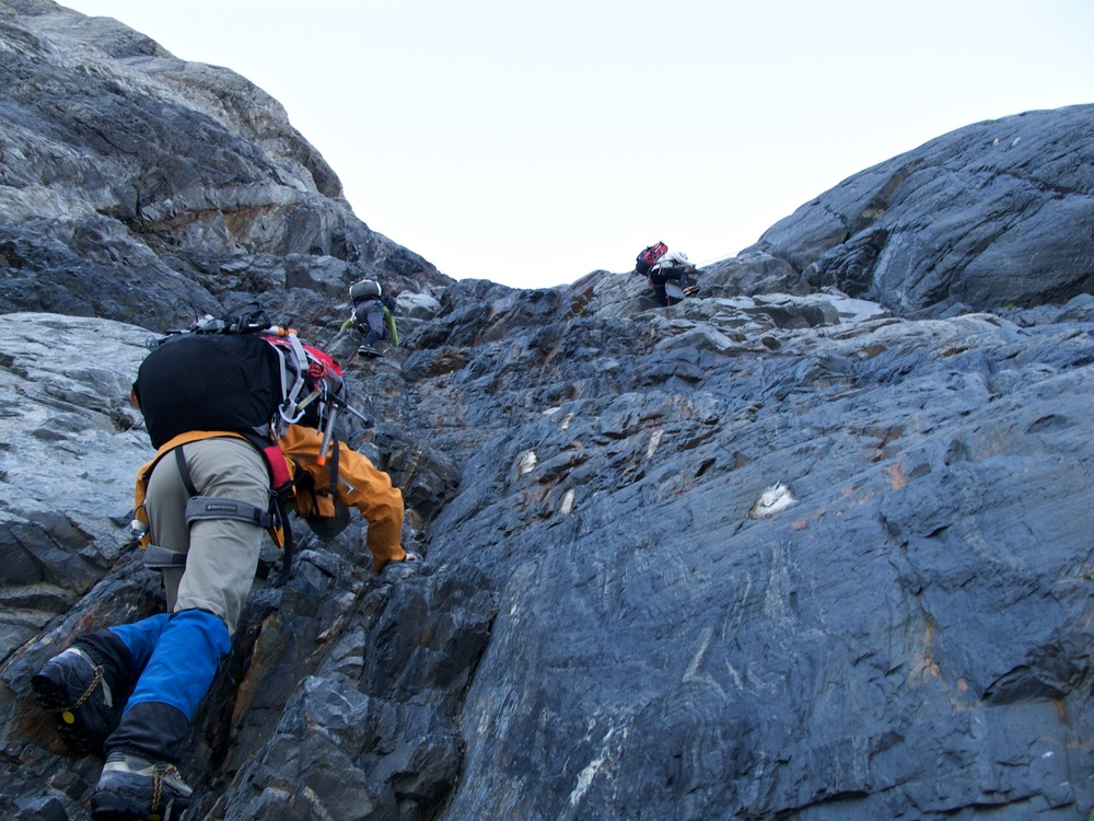 Climbing Pudding Rock to get to Gardiner Hut in the Hooker Valley.