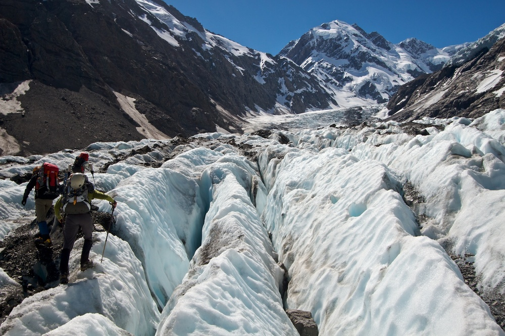 Negotiating the glacier in the Hooker Valley with Marty Beare and Vanessa Wills