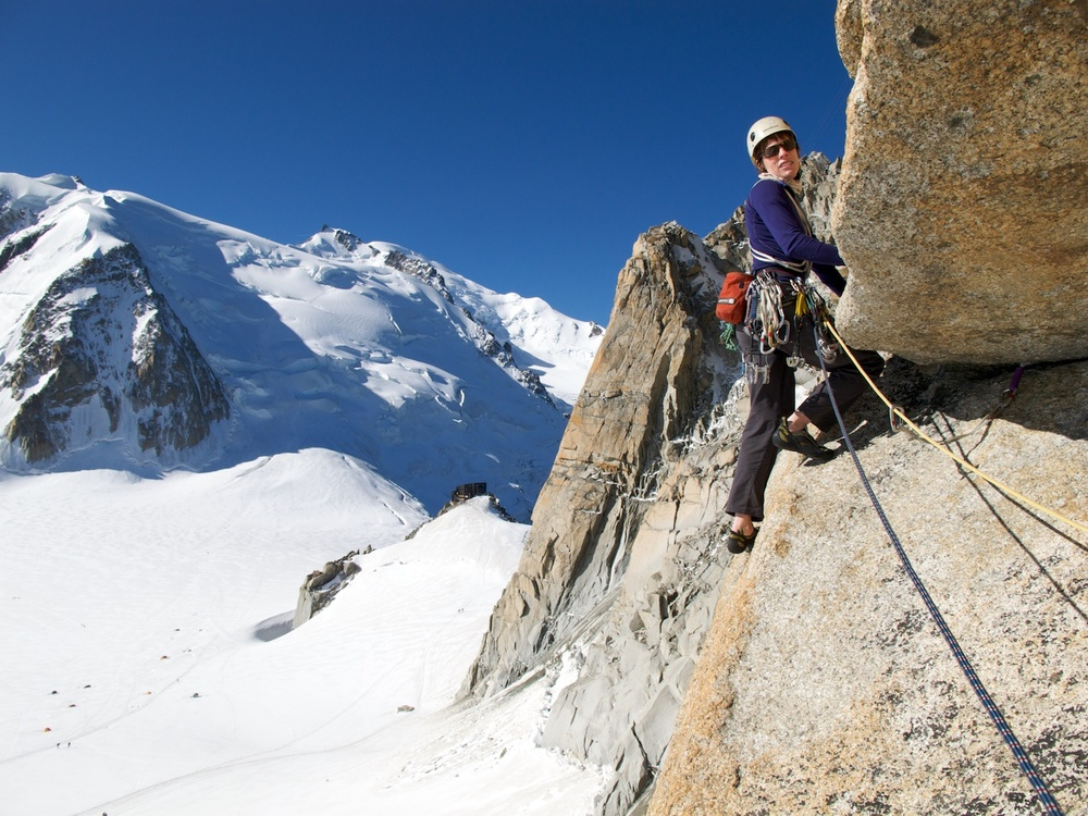 On the classic 'Rébuffat Route' on Aiguille du Midi