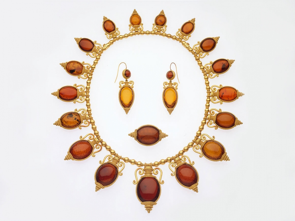Necklace, Brooch, and Earrings in the Archeaological Revival Style