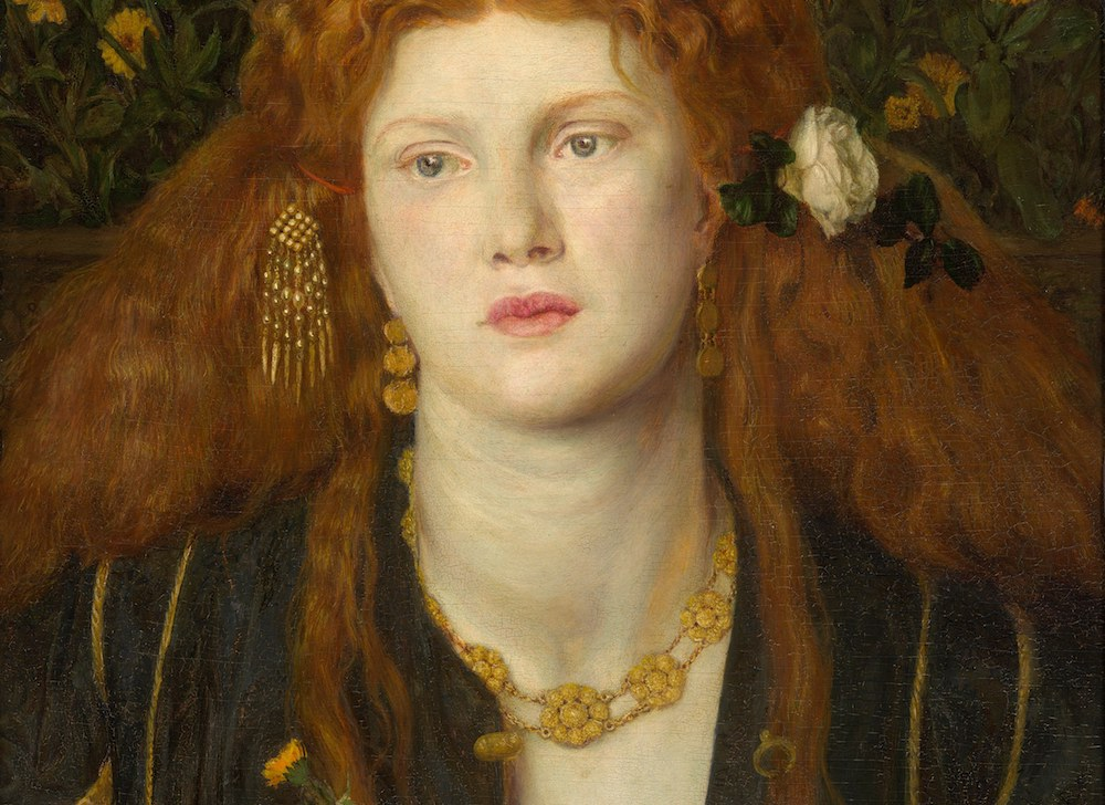 Portrait featuring revival jewels - Bocca Baciata (Lips That Have Been Kissed), 1859, by Dante Gabriel