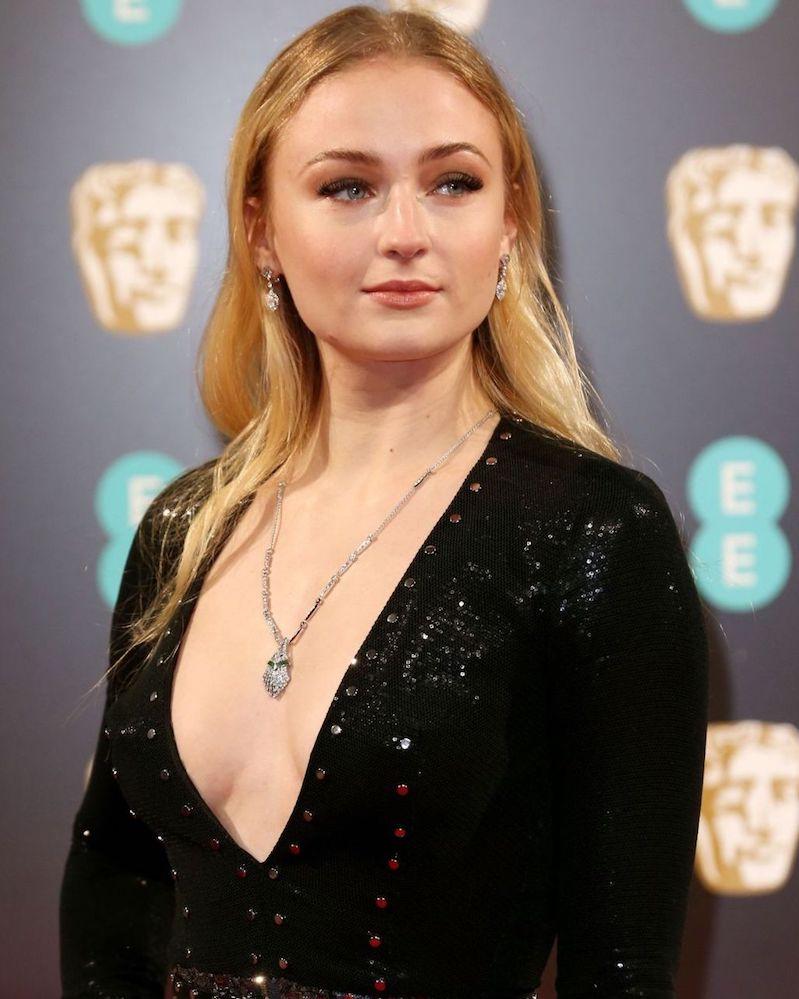Sophie Turner Louis Vuitton Necklace Earrings BAFTAs 2017 Jewelry.jpeg