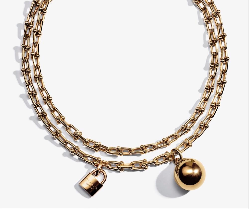 Tiffany HardWear Gold Ball and Lock Necklace.jpg