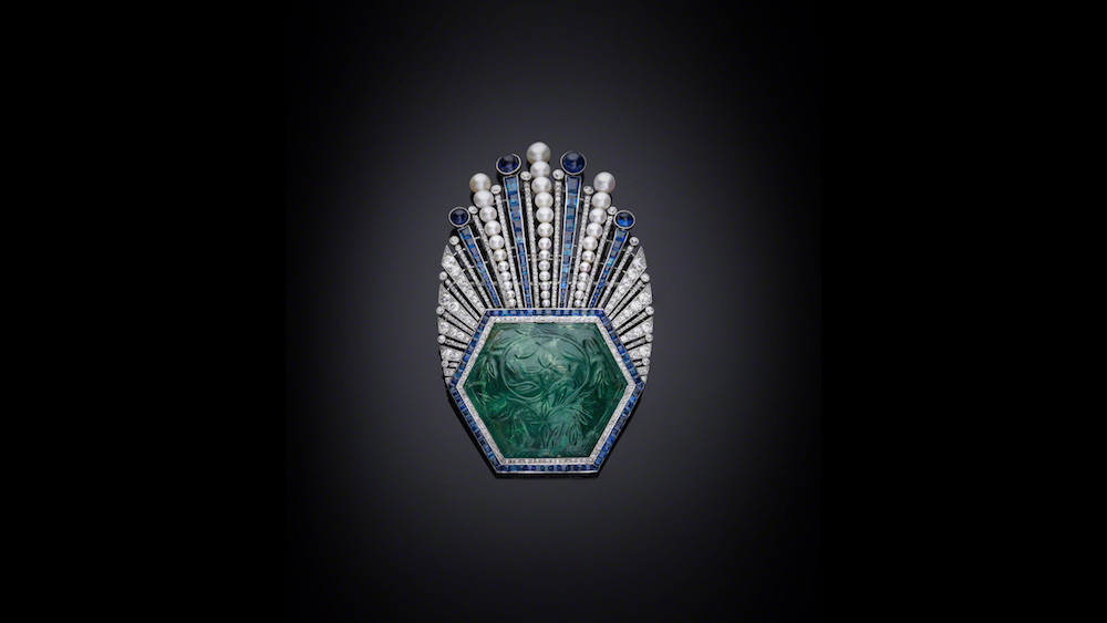 Aigrette, Emerald, India, 1850–1900, Mounted in Paris 1910. Image courtesy of the Al Thani Collection.