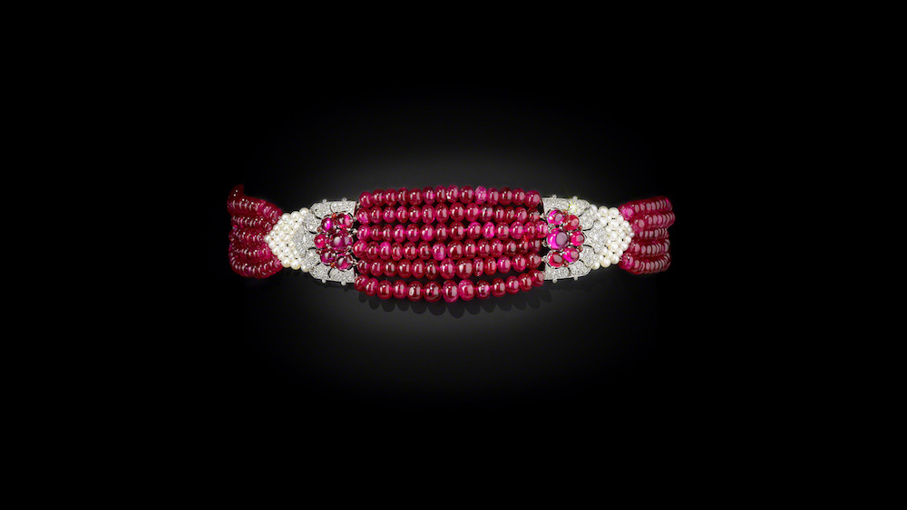 The Maharani of Patiala's Choker, Cartier, Paris 1931, restrung 2012. Image courtesy of the Al Thani Collection.