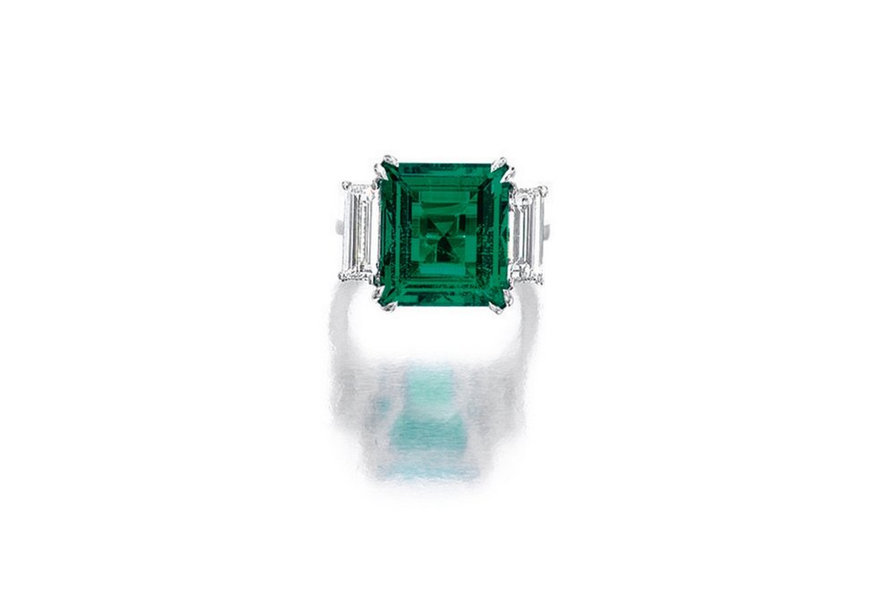 Lot 1774: Very Fine Emerald and Diamond Ring