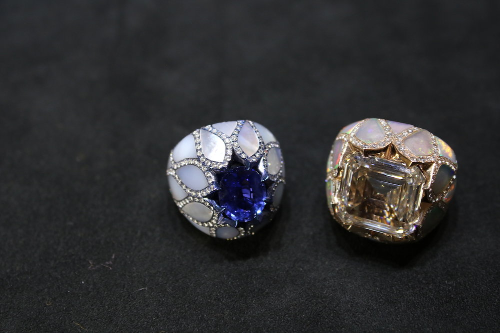 Picchiotti Sapphire and Mother-of-Pearl Ring and Diamond and Opal Ring (Koliero)