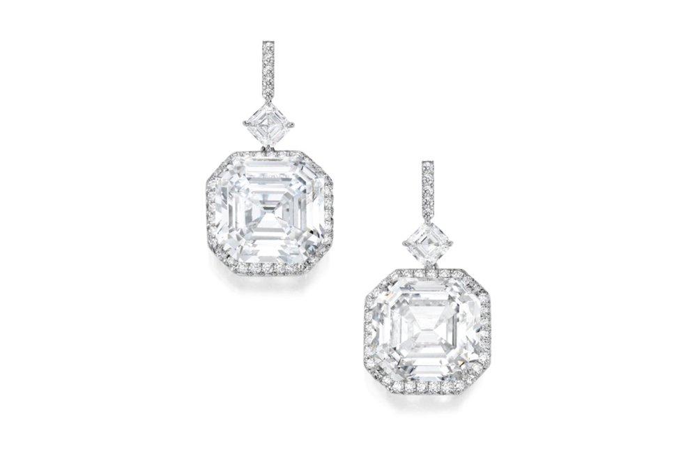 Lot 82: Extraordinary Pair of Platinum and Diamond Earrings, Estimate   4,500,000 — 5,500,000