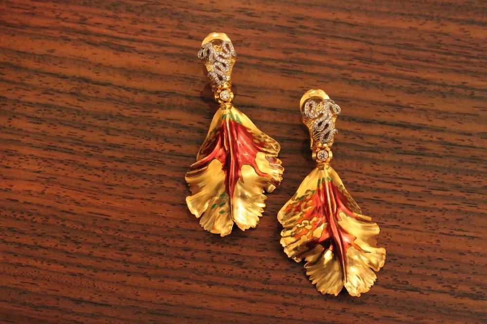 Otto Jakob Parrot Tulip Earrings (Koliero)