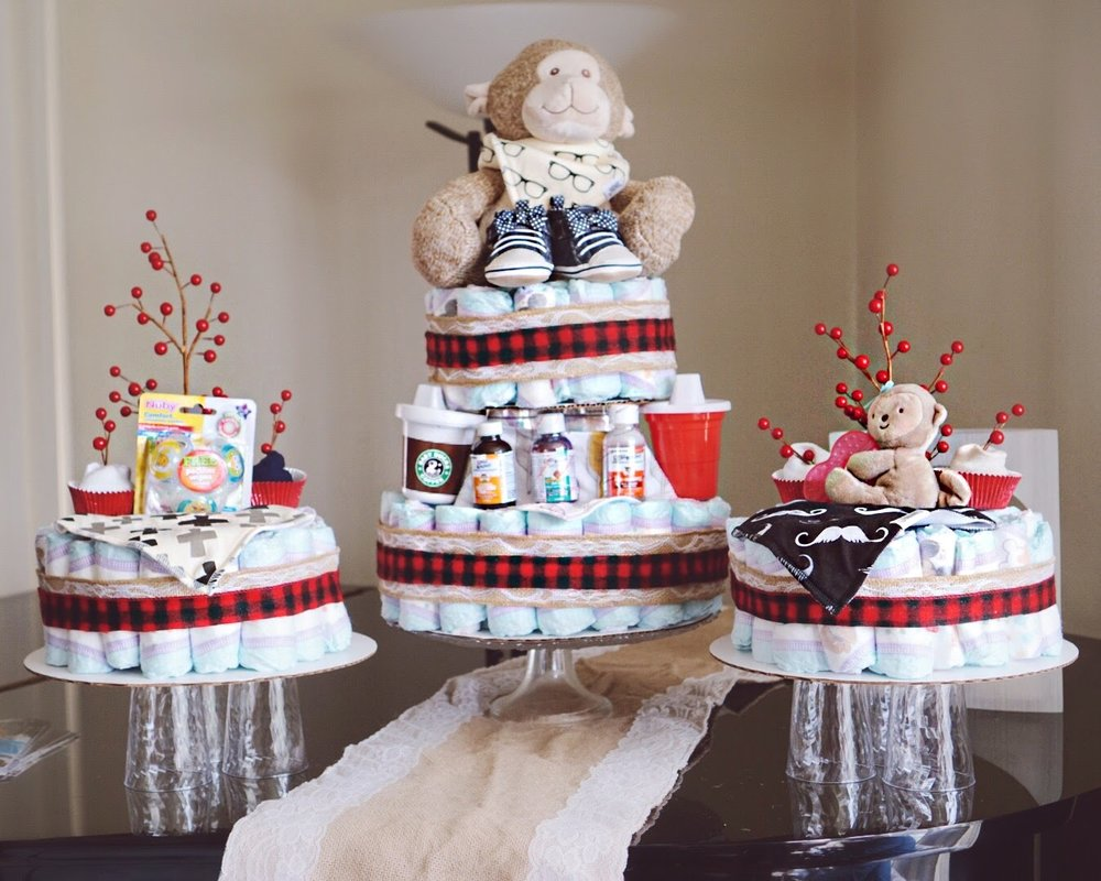 The diaper cake I made with the help of my mother-in-law.
