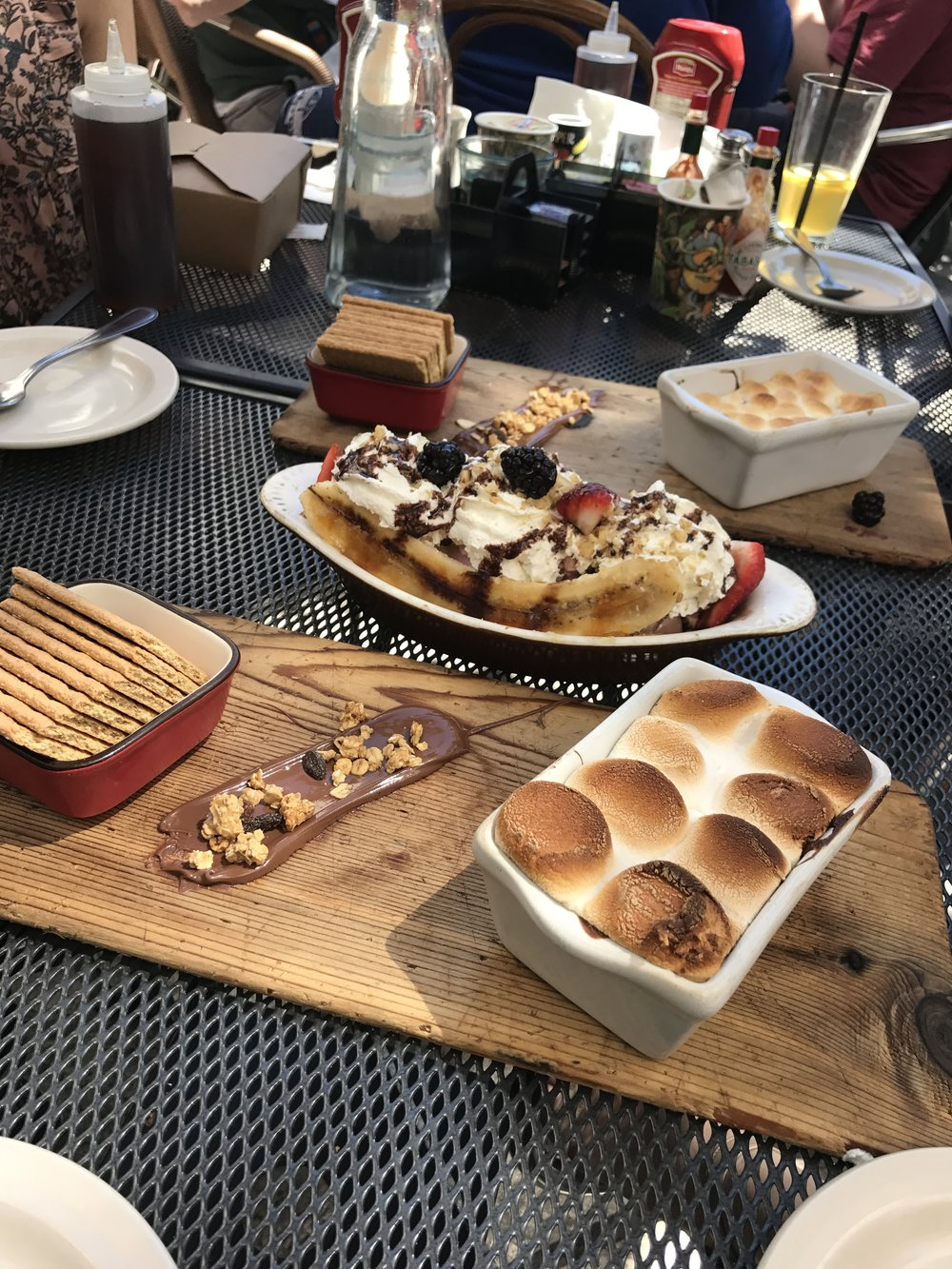 Dessert with brunch? YES PLEASE! Nutella S'mores + Caramel Brulee Banana Split Sundae
