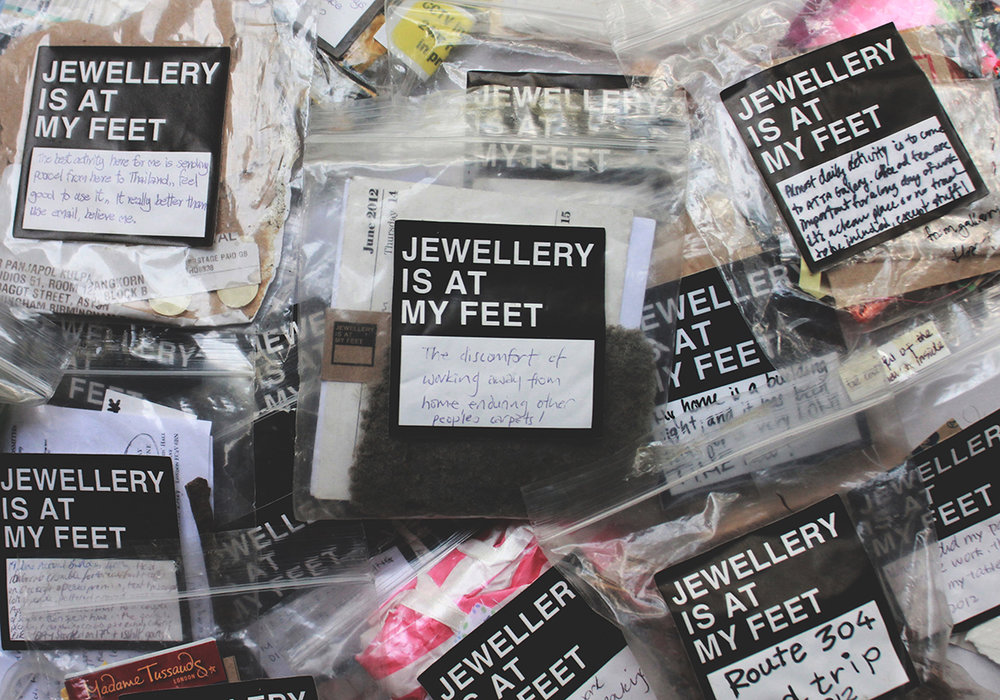 The memory containers from participants  | community project launched in 2012 | memory objects in clear plastic bags
