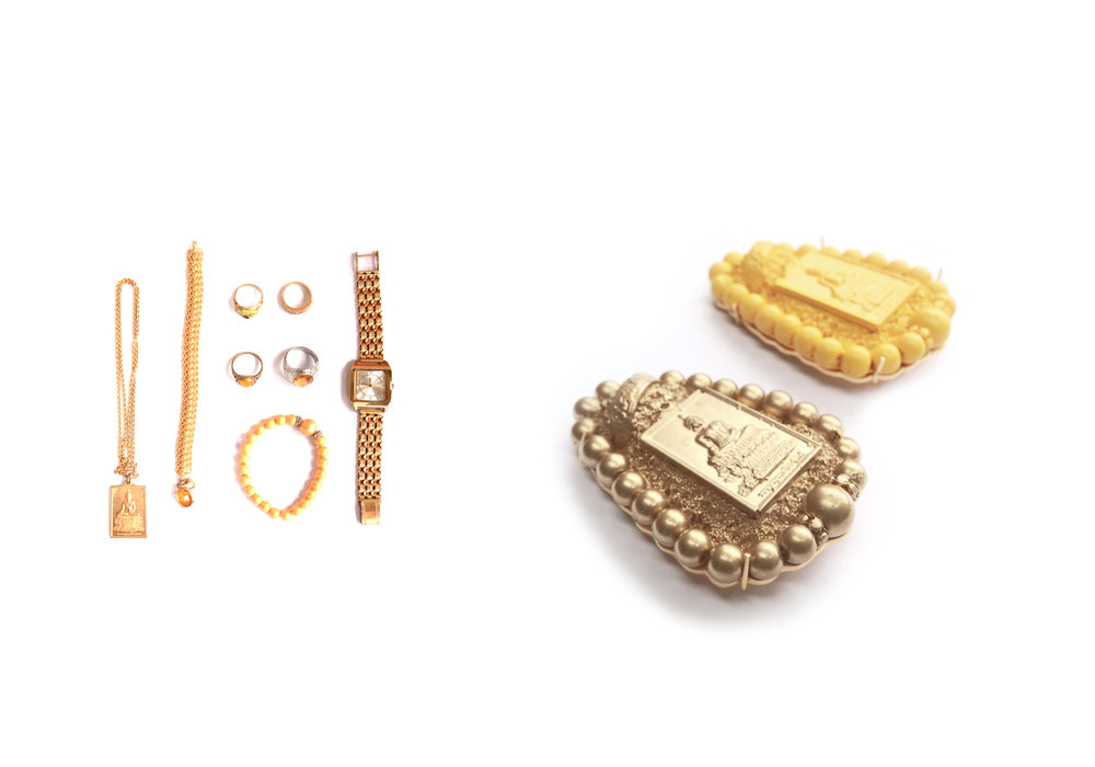 Monday is Yellow   | 2015 | Wipha's jewelry items on Monday, Resin, Copper with gold plated