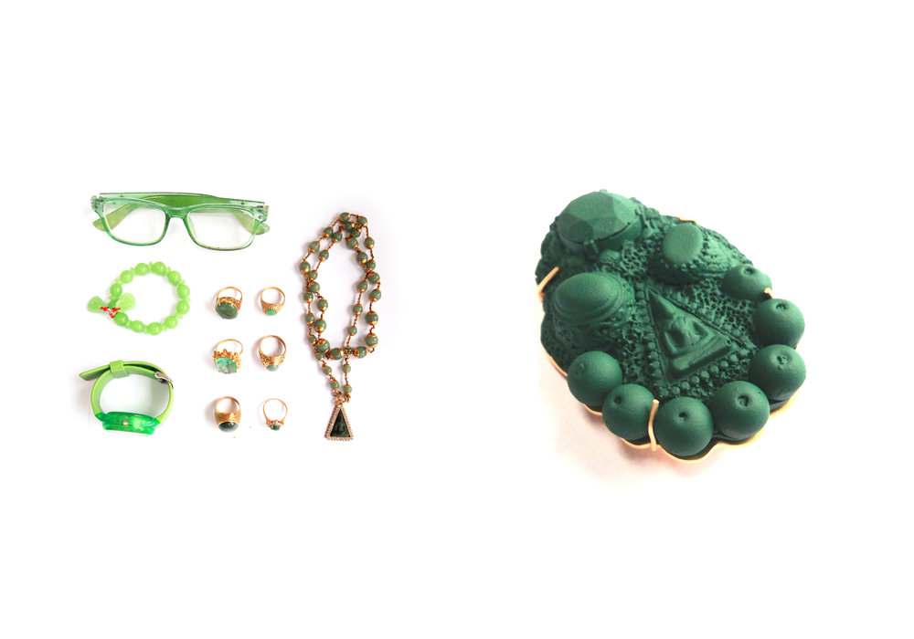 Wednesday is Green   | 2015 | Wipha's jewelry items on Wednesday, Resin, Copper with gold plated