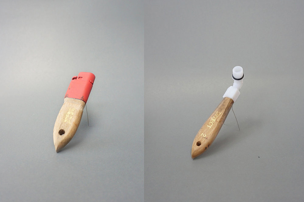 Smoking tool  | Brooch | 2015 | mixed media (left)   Work in the shipyard  | Brooch | 2015 | mixed media (right)