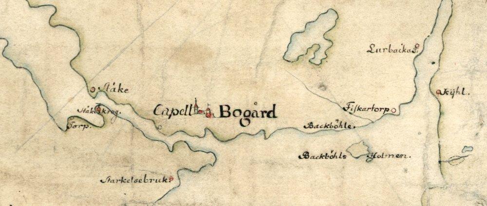 Boo gård på Carl Gripenhielms karta från 1690-talet.