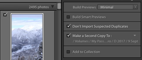 "Lightroom has a ""Make a Second Copy"" option for easy backups"