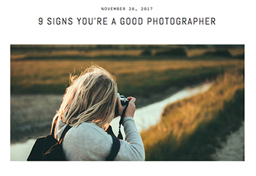 What photography habits do you have? - Use your habits for good - don't slip into bad ones