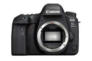 Canon 6D Mark II body only. A full frame DSLR for photographers who have moved off their beginner's plateau. Buy the 50mm f1.8 lens (next item) to go with the body. (£1,600)