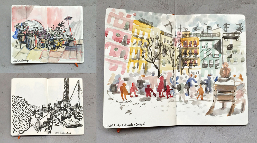 Sketchbook from Barcelona. At first we told friends by email and announcing on Facebook. After a while we started to share our events on Instagram, Twitter and word of mouth.