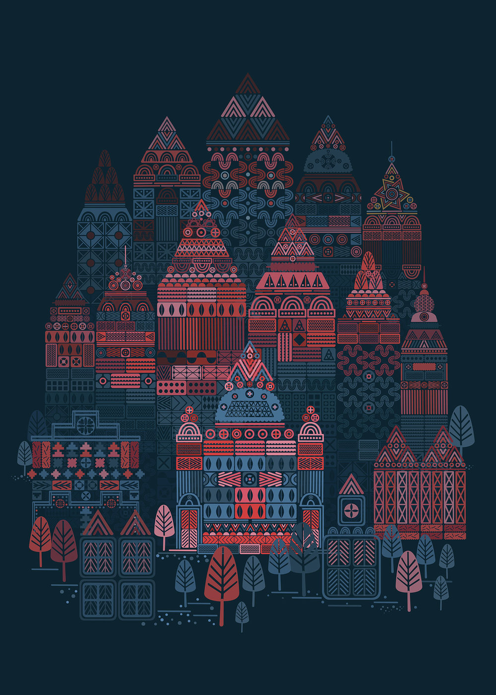 Utopian Night is a piece from the Utopian City series, built with geometric shapes and a complex color palette. By changing the color palette they bring out the seductive and mystical night.