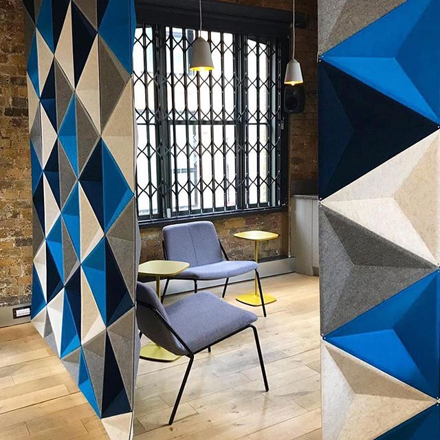 Creative // Partitions #Repost @designmilkattheoffice ・・・ Boring partitions are a thing of the past. These #geometric acoustic panels by @bestuhl_uk help break up an #officespace while adding a graphic look. \\\ Photo via @thirdwayinteriors