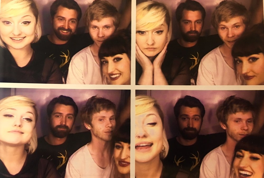 Band in a photobooth in Seattle.