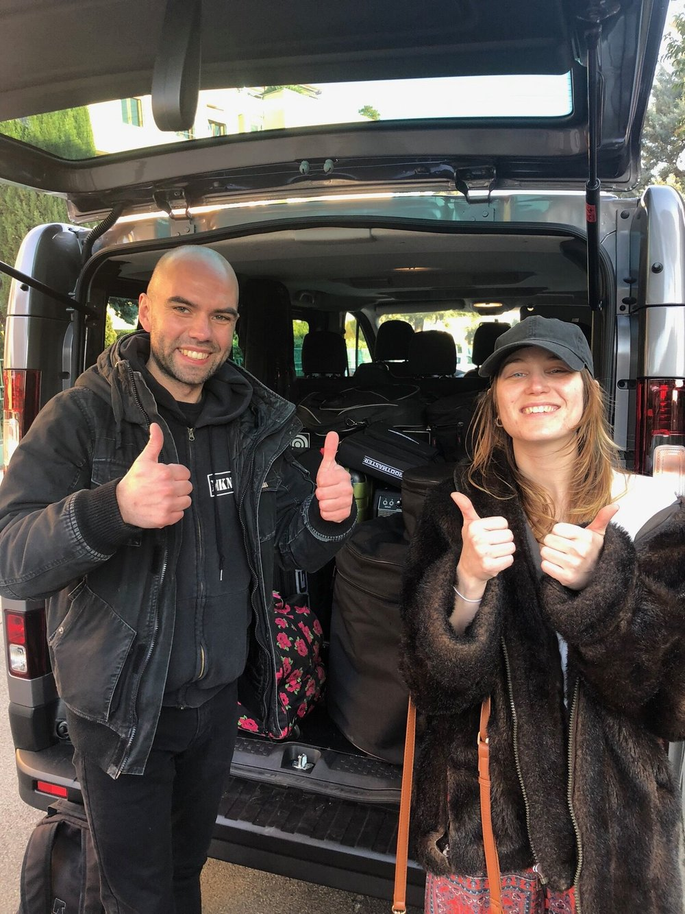 Drummer Jordyn Blakely + Our tour manager Simon after their first successful van pack