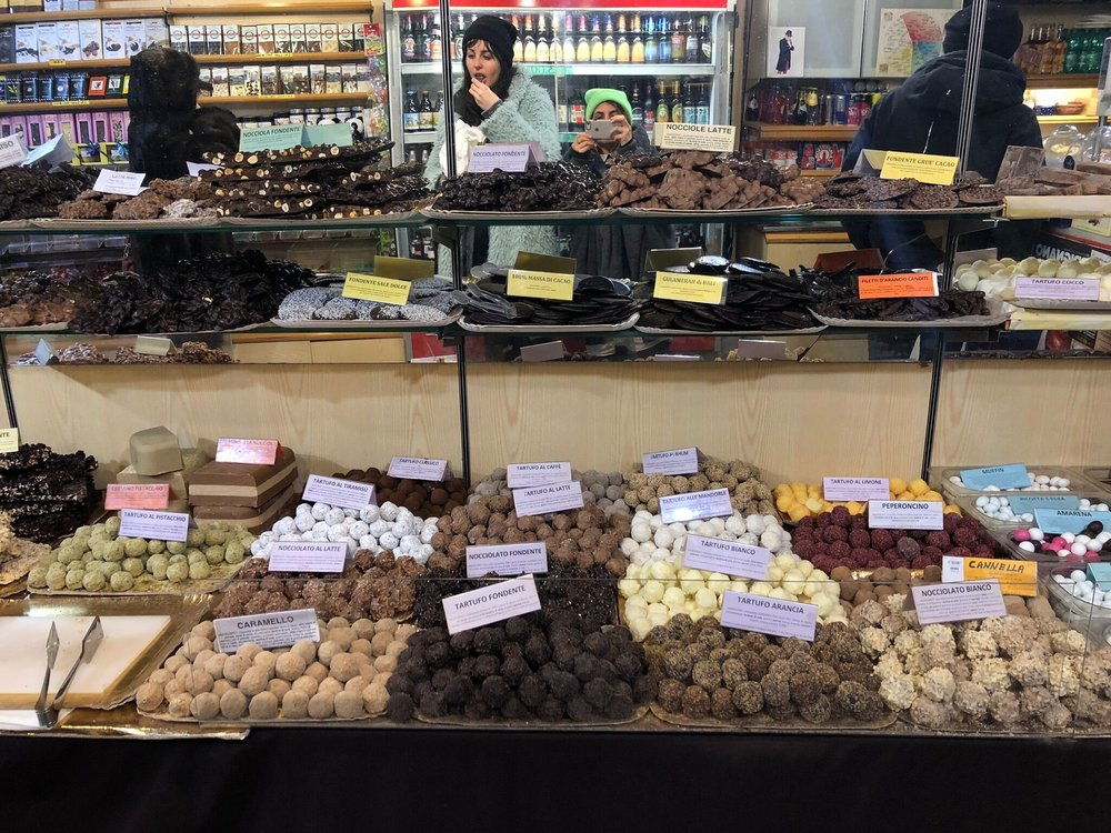 Chocolate truffles in Perugia, Italy