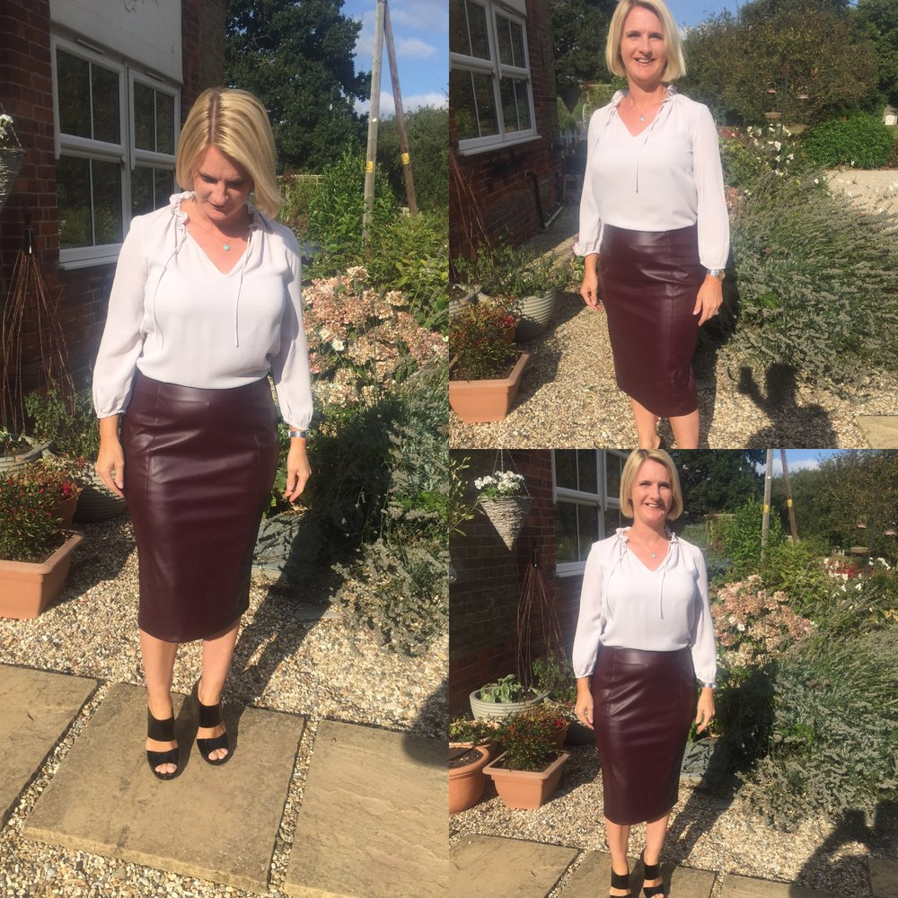 Top from The White Company, Ox blood Skirt from Marks and Spencer, Shoes Jimmy Choo