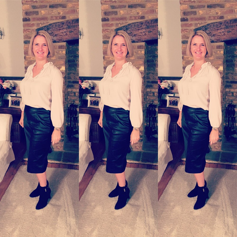 Top from The White Company, Skirt from Marks and Spencer and boots from Russell and Bromley.