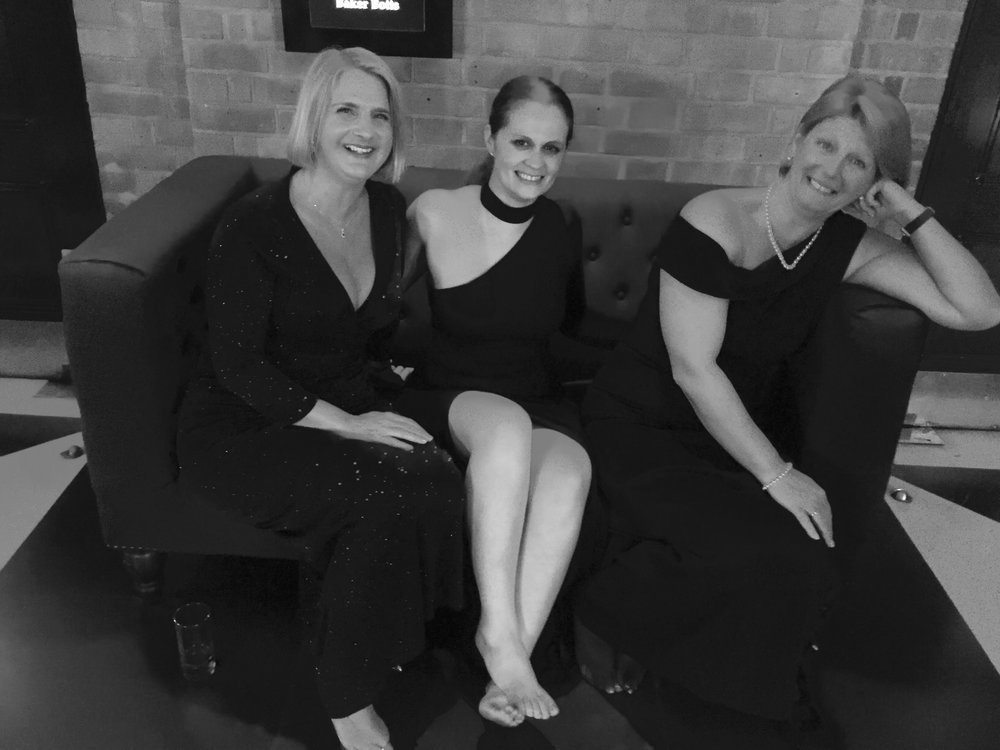 Just chilling after a long night in heels...me, the wonderful, glorious, highly intelligent Debbie and my girl Michelle.  Wishing you all a very happy party season too!