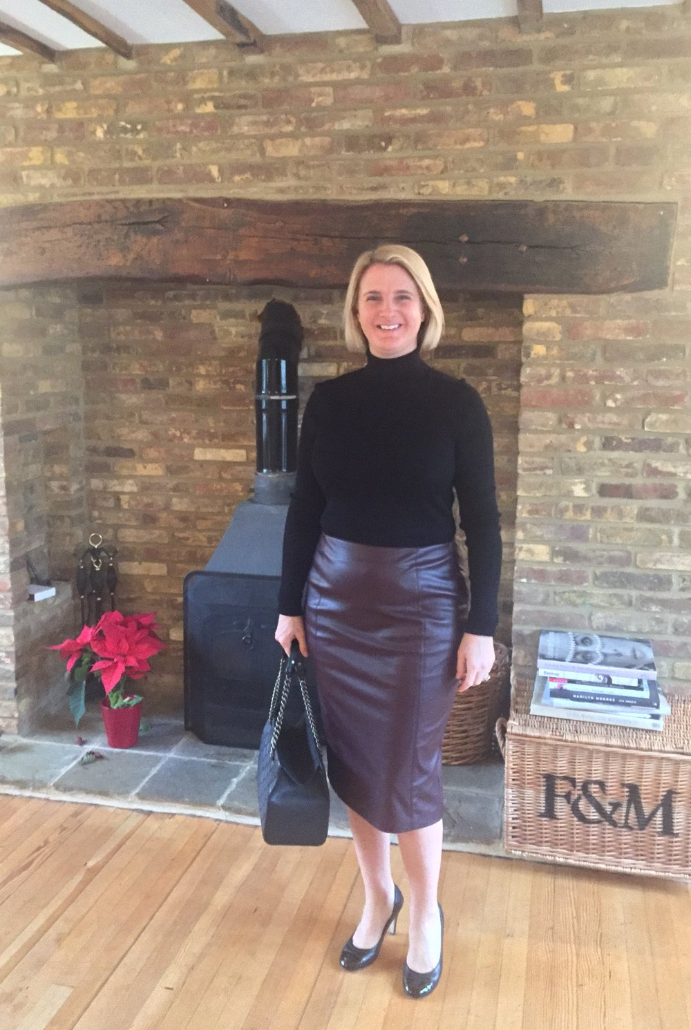 Woman at M&S for sunday lunch. Top and Skirt from Marks and Spencer, Bag and Shoes from Chanel.