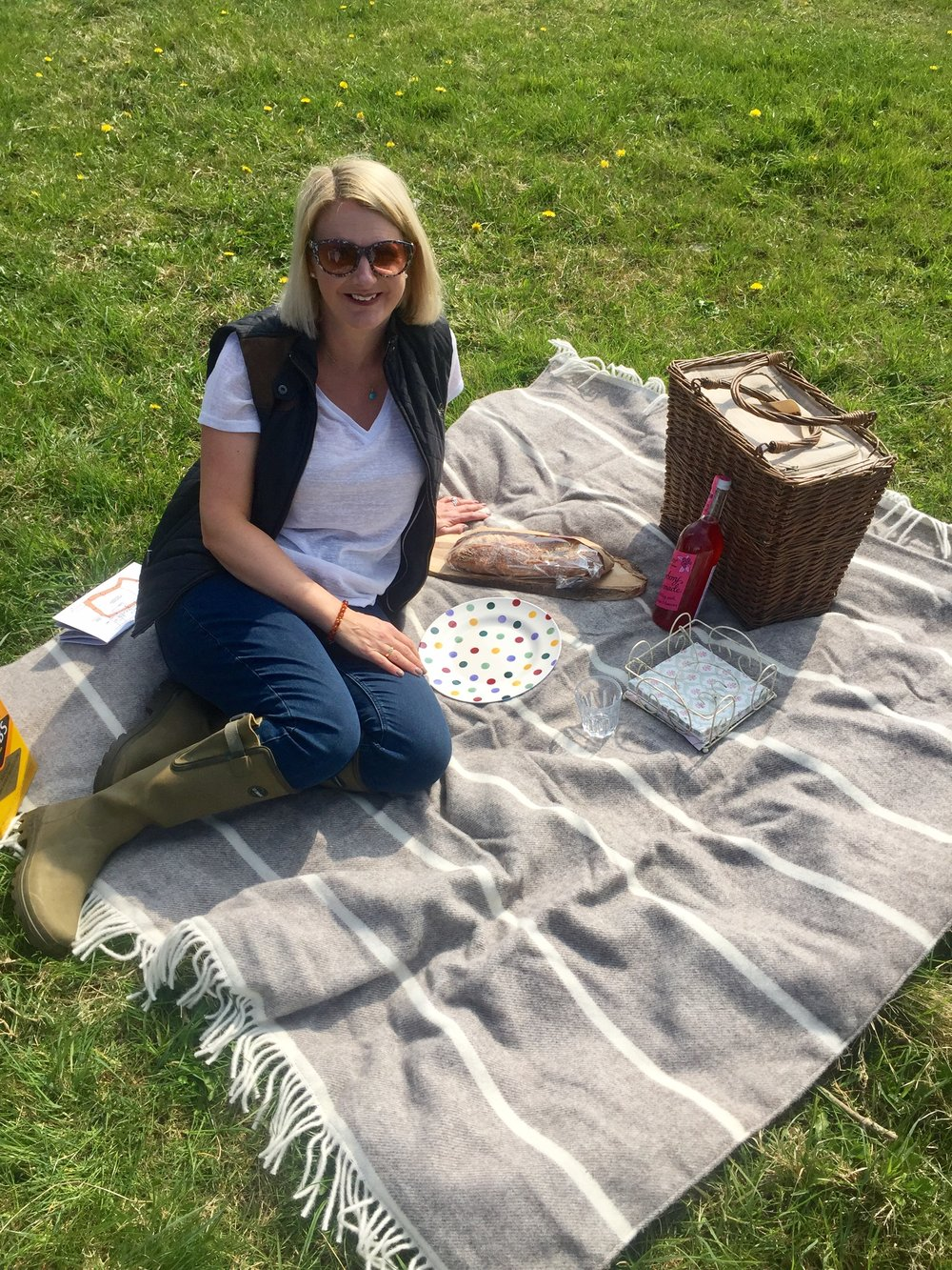 Top From Primark, Gilet from Crew clothing, Jeans from Topshop, Wellies (Wellington boots / Gum boots/ rain boots) from Le Chameau. Picnic rug from my work Neptune Colchester.